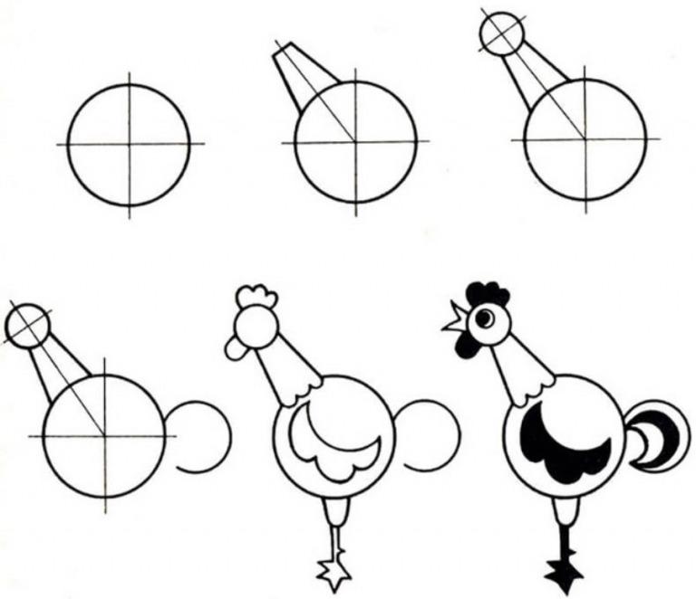 Как просто нарисовать петуха?