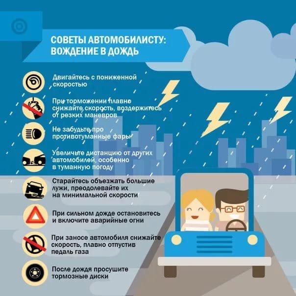 Советы автомобилистам в дождь